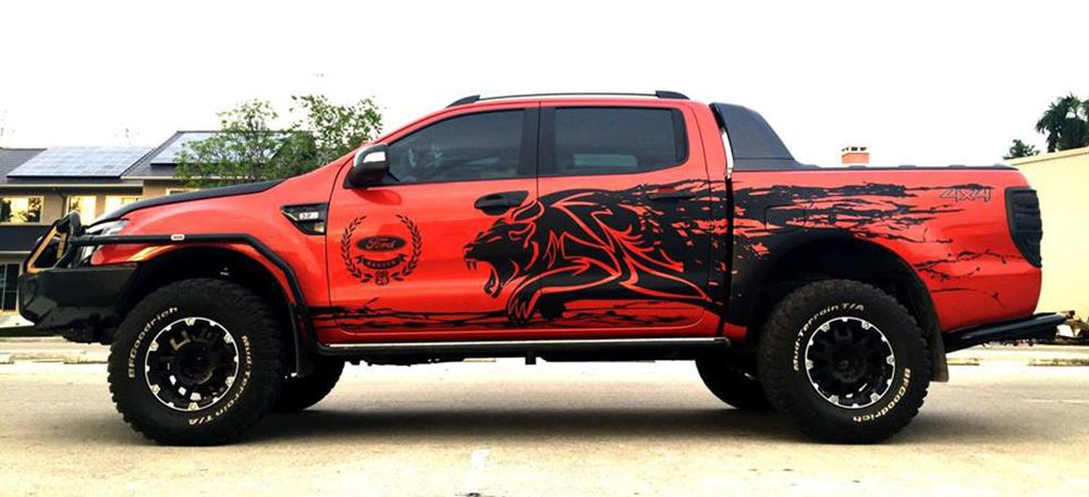 Matt Matte Black Tiger Mud Design Sticker Ford Ranger T6