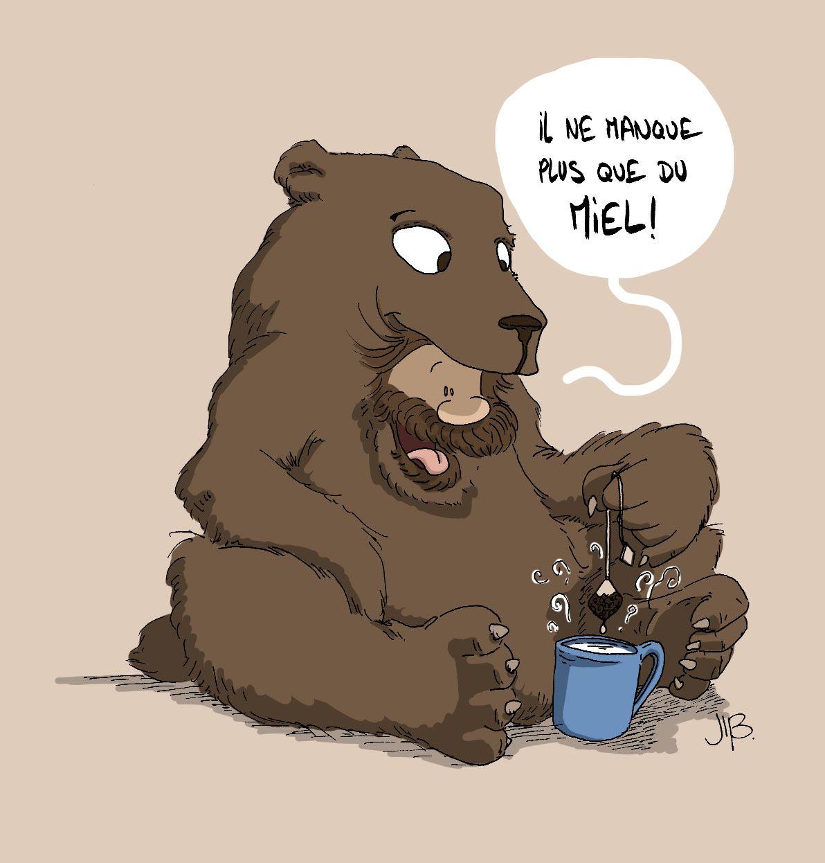 Penses à mettre un p'tit coup de miel dans ton thé ! #ours &  #Miel   #bear & #honey