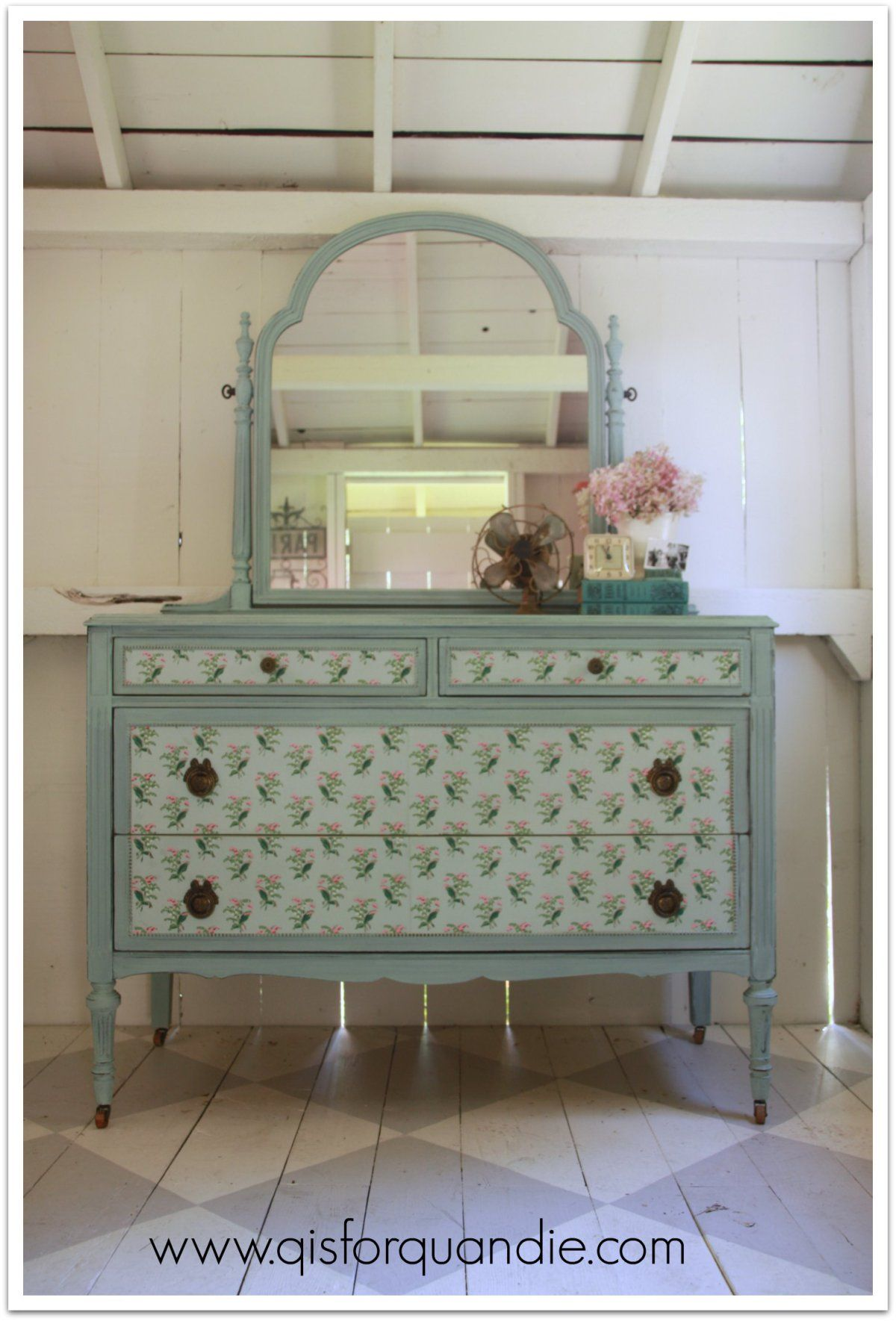 vintage wallpaper DIY dresser makeover