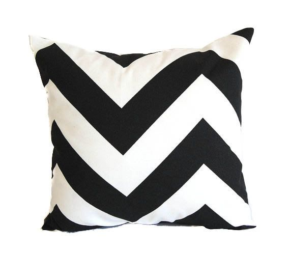 Black Chevron Pillow Cover One Cushion Cover Black And White Zig Zag