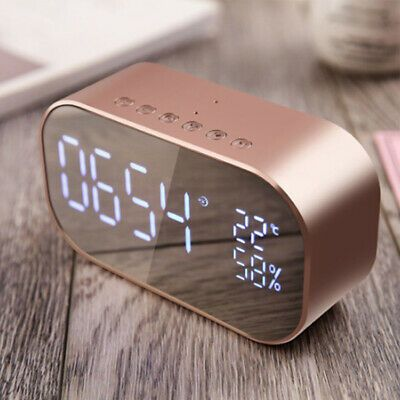 Modern Decor Led Bluetooth 4 2 Alarm Clock Thermometer Mirror Surface Speaker Ebay Led Mirror Gold Room Decor Computers Tablets And Accessories