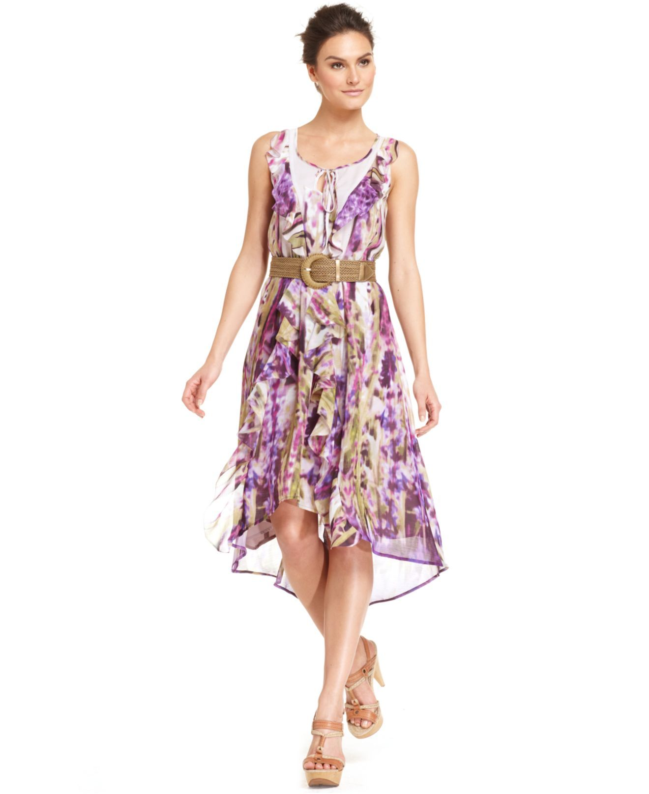 Wedding dresses at macy's  Nine West Dress Sleeveless Belted Ruffled Printed High Low Hem