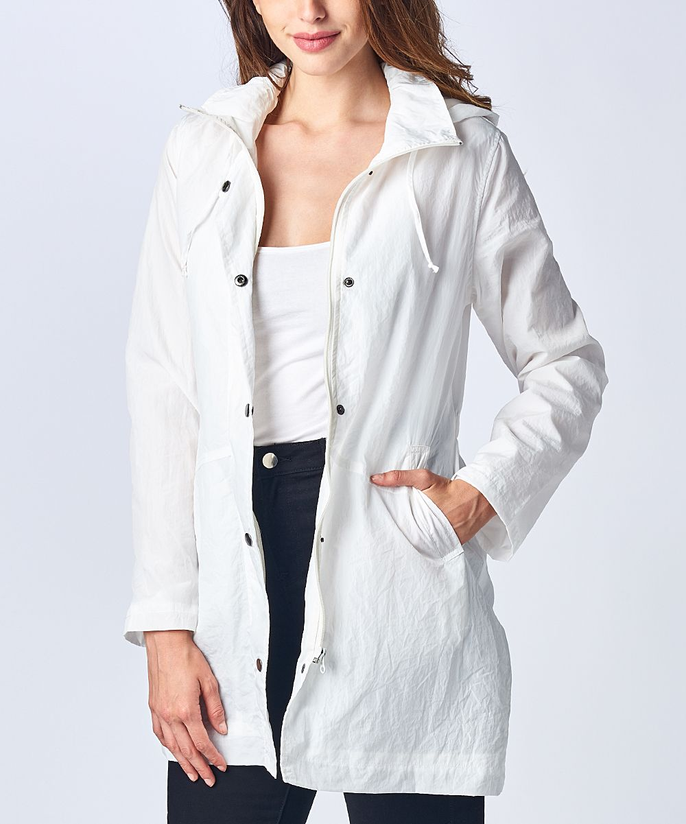 White Three-Quarter Sleeve Trench Coat