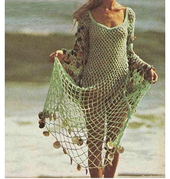 Crochet Pattern Vintage 70s Crochet Dress Pattern Beach Swimwear