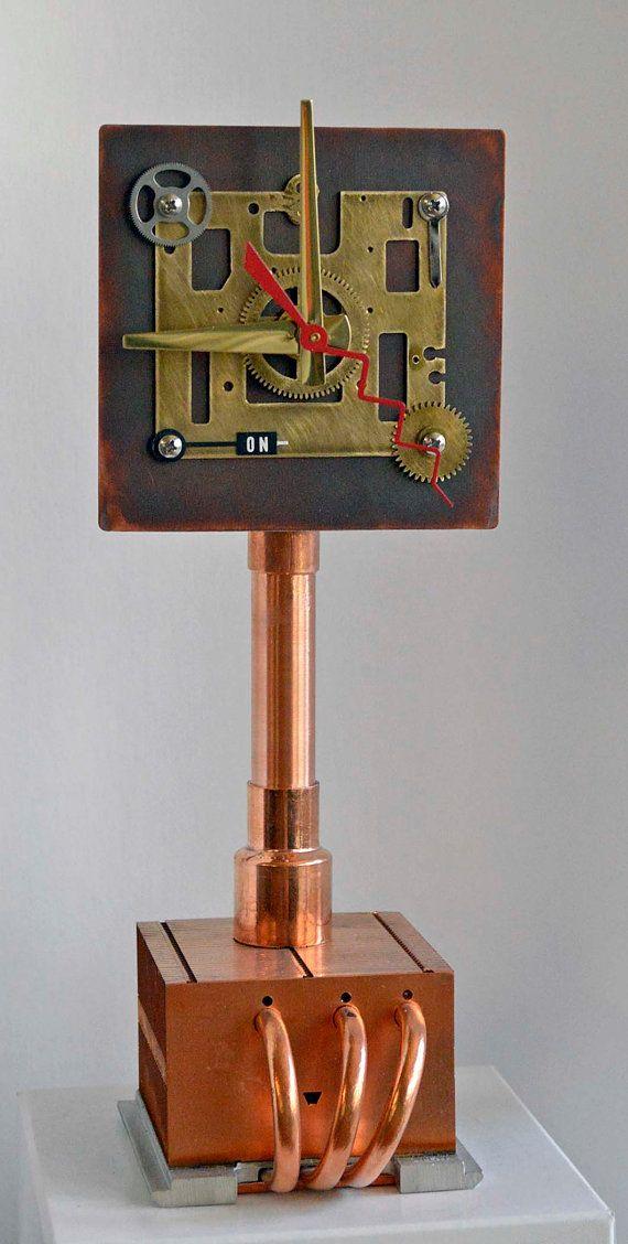 steampunk industrial art sculpture clock plumbing pipe plumber ...
