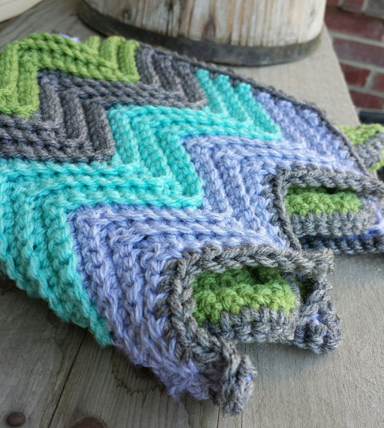Crochet chevron baby car seat blanket with by MalindasDesigns ...