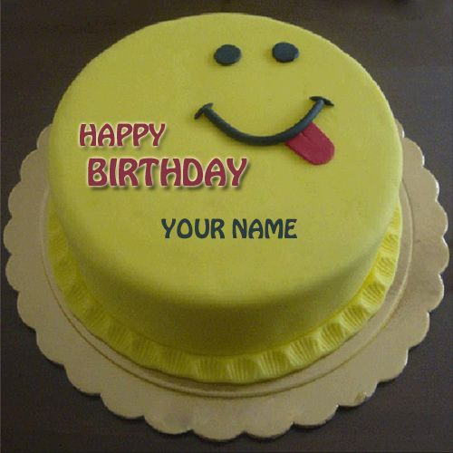 Write Name On Cute Smiling Birthday Cake For Brother Print