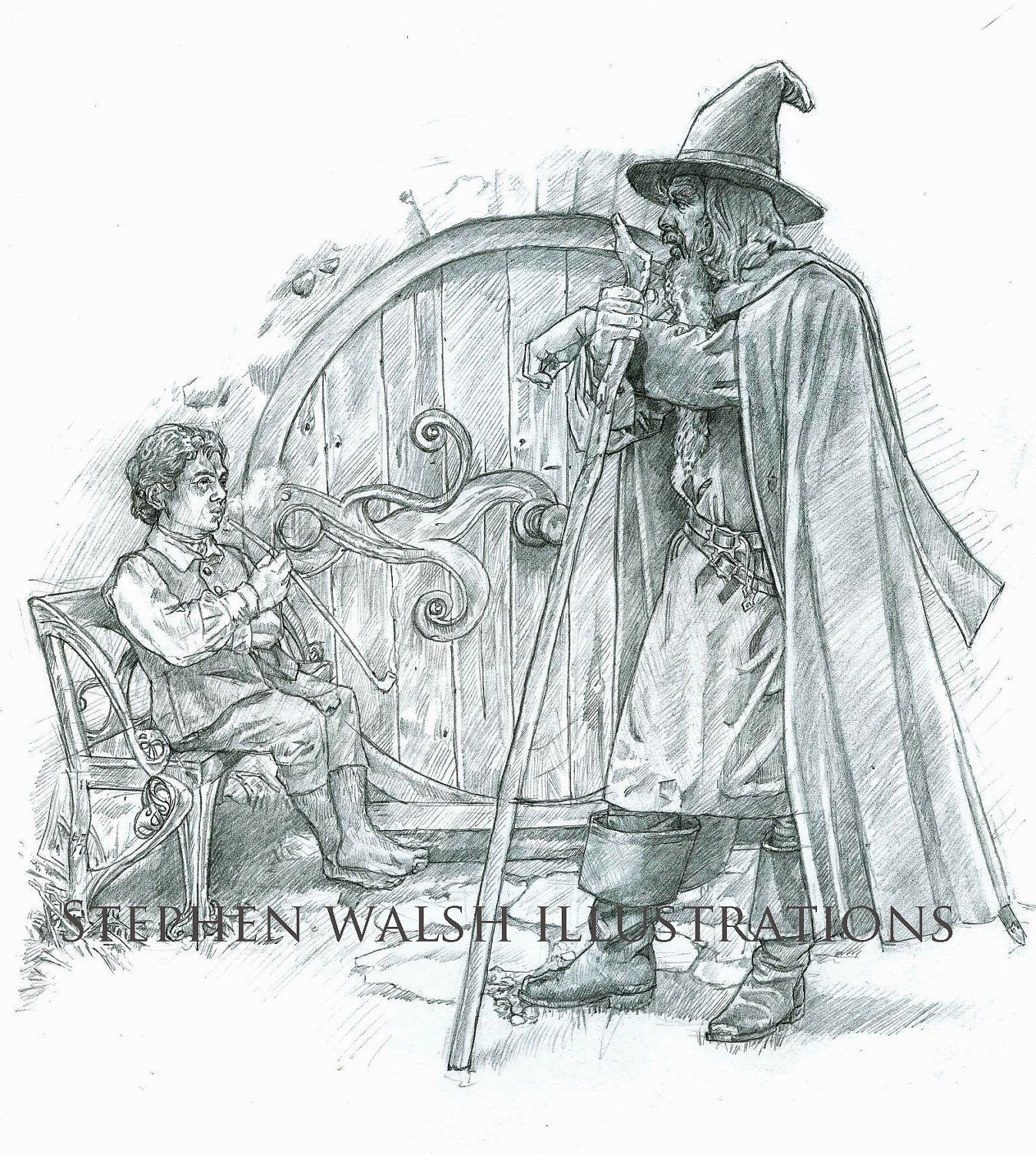 Original Drawing The Hobbit Bilbo And Gandalf The Lord Of The