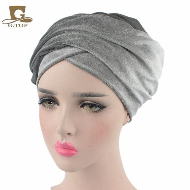 New Fashion Women Velvet Turban Headband Wrap Hijab Extra Long Velvet Tube Head Wrap Scarf Turbante