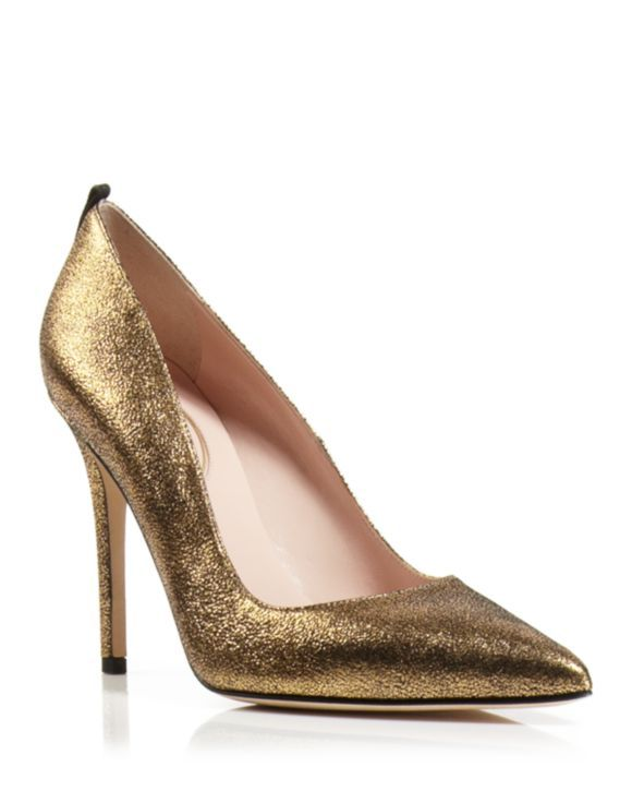 SJP by Sarah Jessica Parker Pumps - Fawn Cracked Metallic High Heel |  Bloomingdales's