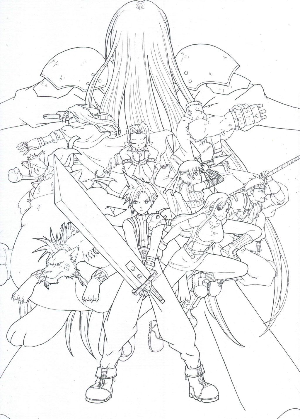 Final Fantasy 7 Fan Art Coloring Pages Final Fantasy Vii Coloring Books