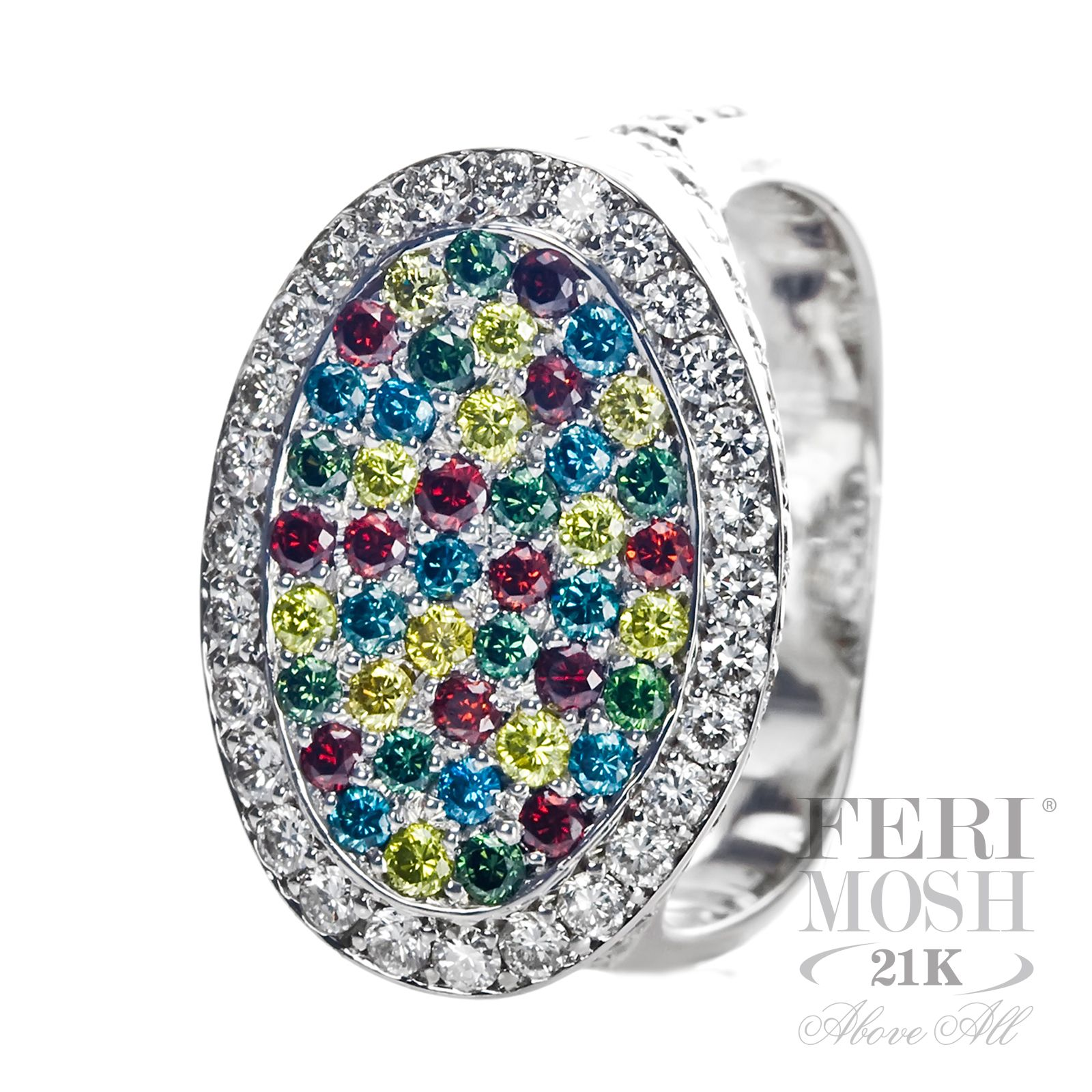 FERI MOSH Colors Ring - 21K White Gold, covered in red, green ...