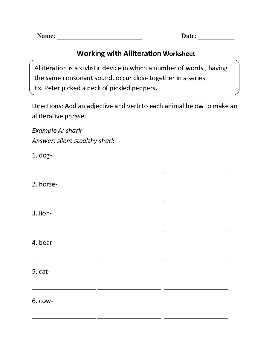 Working with Alliteration Worksheet   Alliteration [ 1188 x 910 Pixel ]