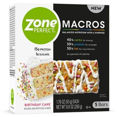 Awe Inspiring Zone Perfect Macros Birthday Cake Nutrition Bars 5Ct Nutrition Funny Birthday Cards Online Alyptdamsfinfo