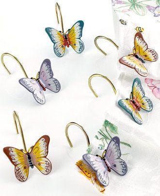 Lenox Butterfly Meadow Shower Curtain Hooks Set Of 12