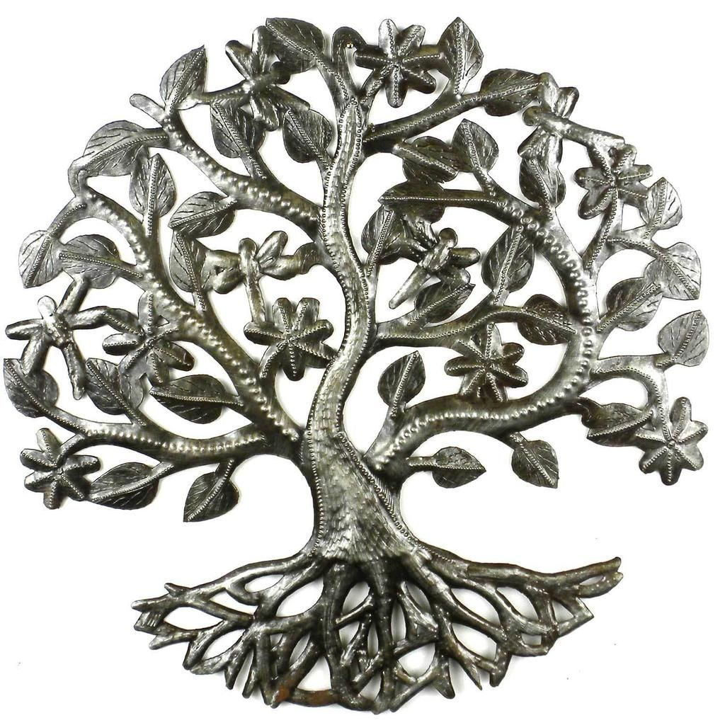 inch tree of life dragonfly metal wall art croix des bouquets