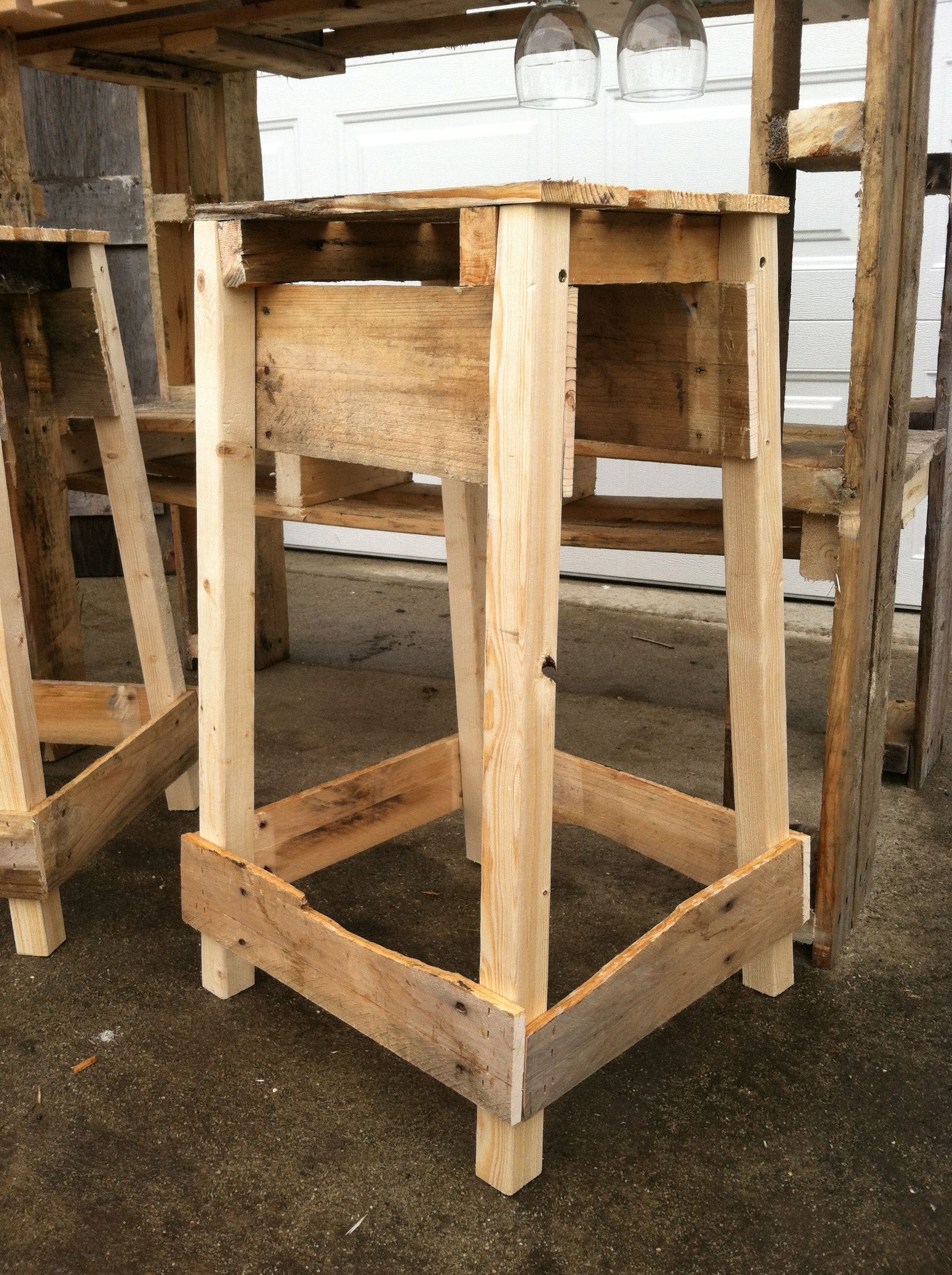 pallet bar stool pallet and reclaimed creations. Black Bedroom Furniture Sets. Home Design Ideas