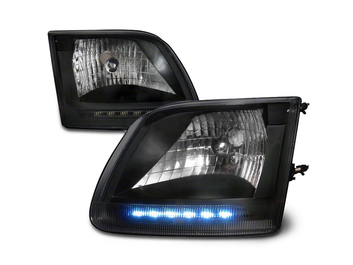 F 150 Euro Headlights With Led Parking Lights Black 97 03 F 150 Custom Headlights Headlights Led