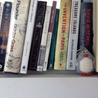 Bookshelf and suspicious character