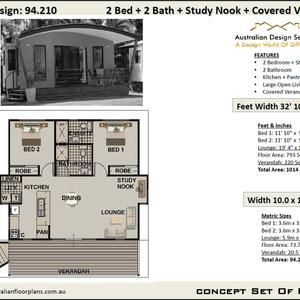 Small House Design 94 210 Granny Pod 73 7 m2 or 793 Sq Feet 2 Bedrooms 2 bathroom Granny Flat House Concept House Plans