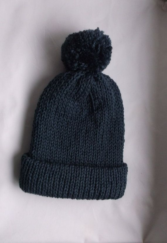 Unisex knit hat, beanie hats, Slate grey, knitted hat, husband gifts ...