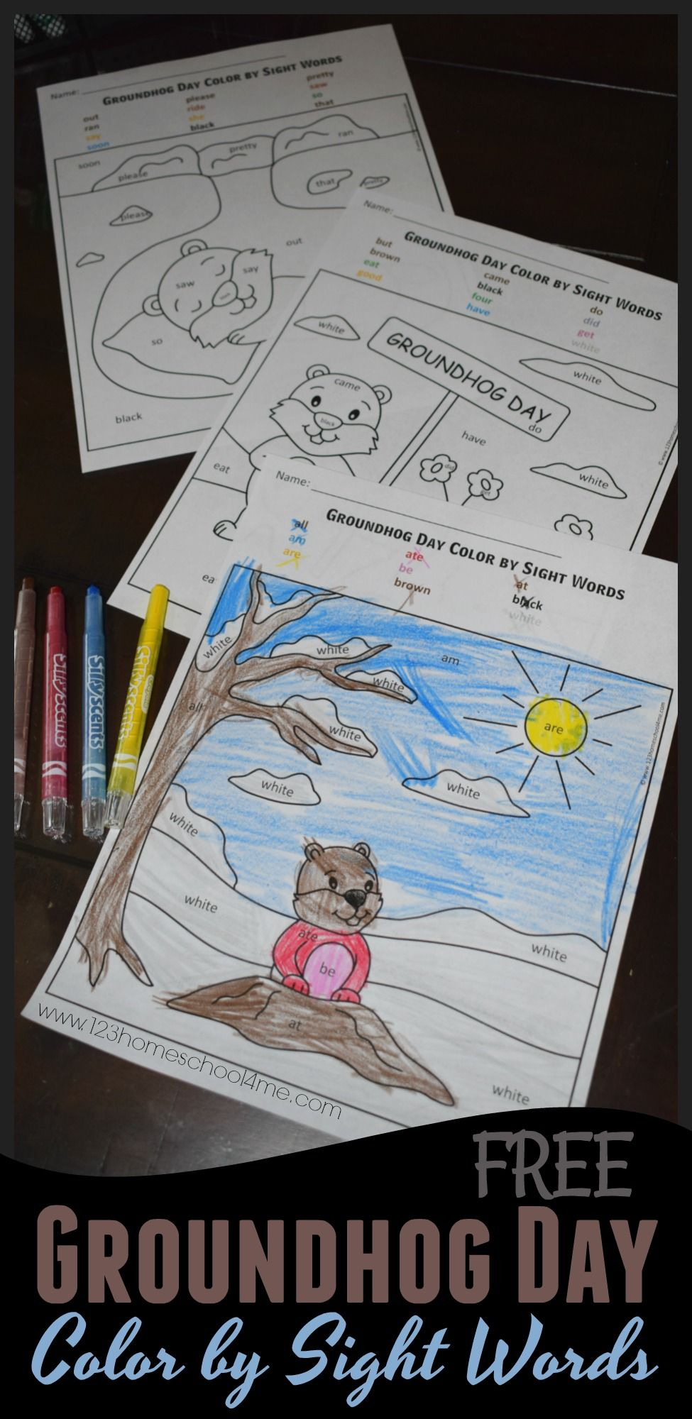 FREE Groundhog Day Color by Kindergarten Sight Words - these ...