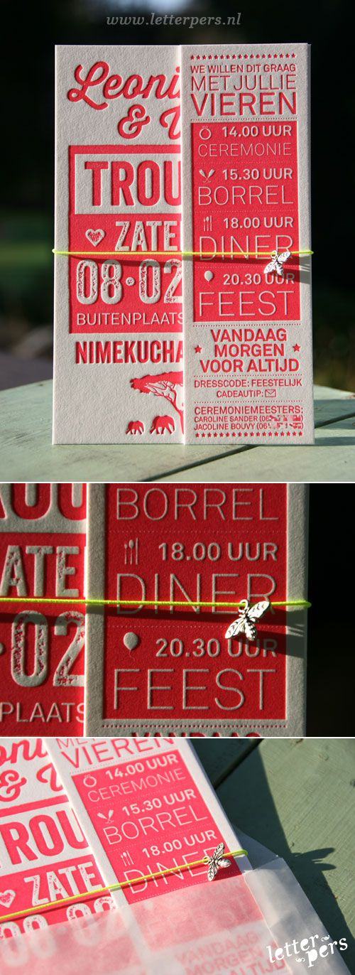 letterpers_letterpress_trouwkaart_-Leonieke-en-Willem_Rood_roze_fluor_neon_olifanten