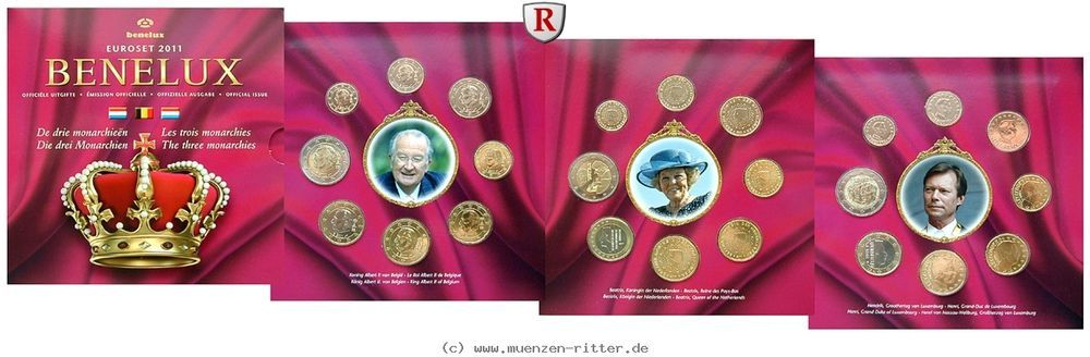 RITTER Belgien-Niederlande-Luxemburg, BeNeLux, Euro Kursmünzensatz KMS 2011, st #coins