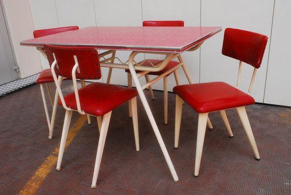 Tavolo Bianco Formica.Meraviglioso Tavolo E 4 Sedie Americano Vintage Anni 50