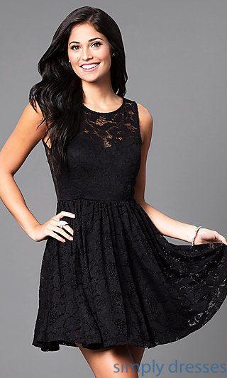 Lace Open Back Short Black Semi Formal Party Dress Dress Dresses