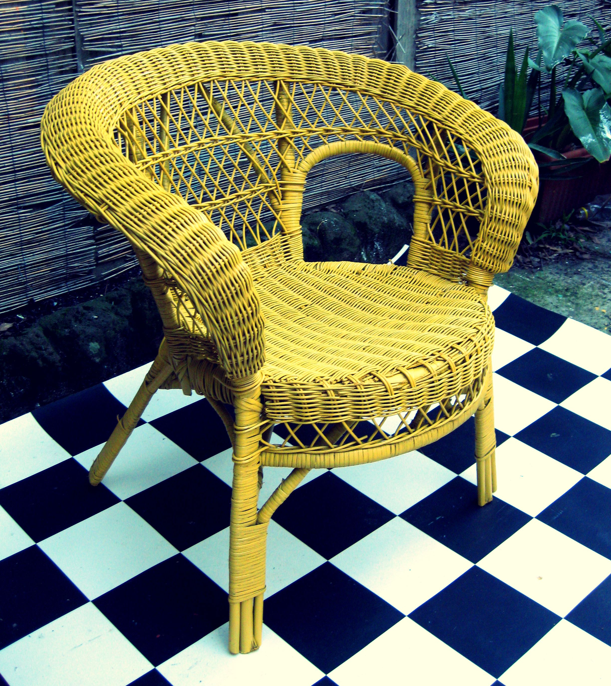Retro Cane Chair Finished In Bright Yellow