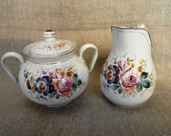 Antique FRENCH ENAMELWARE Sugar bowl & Milk jug HANDPAINTED Roses/Pansies…