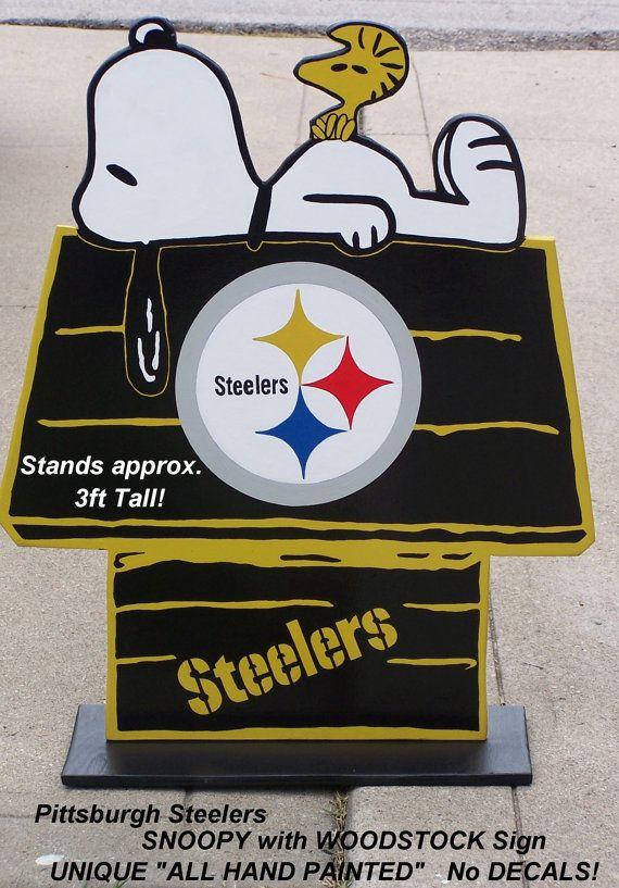 Pittsburgh Steelers Football Snoopy Peanuts Wood By
