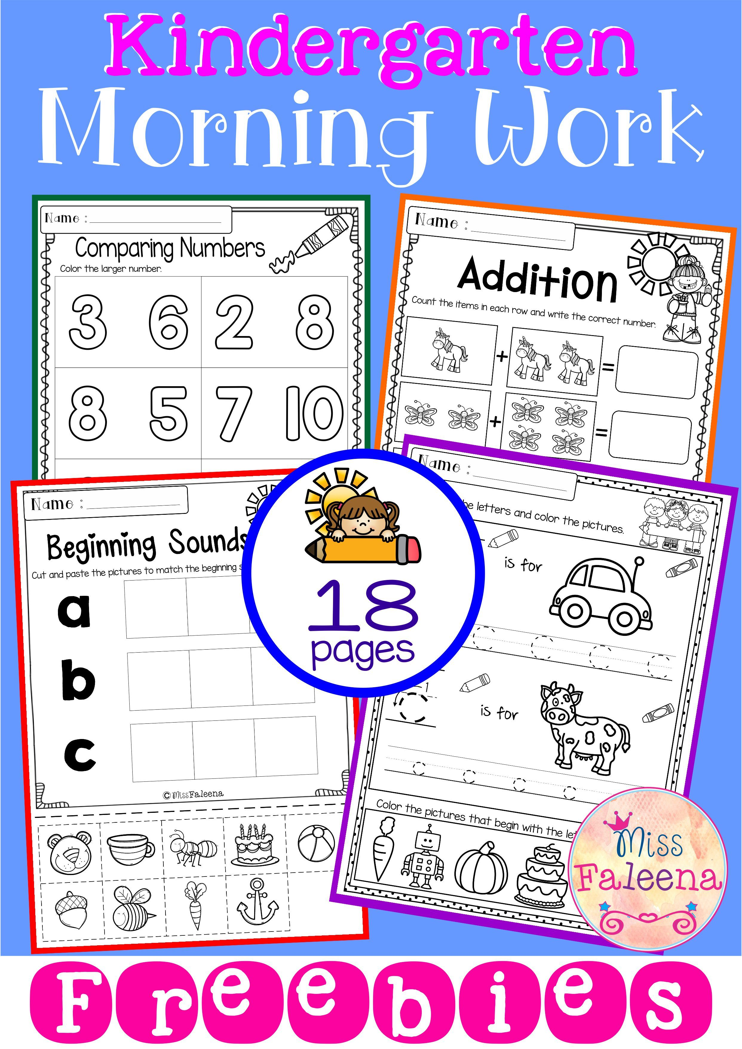 Free Kindergarten Morning Work Includes 18 Worksheet Pages These Pages Are Great For Pr Kindergarten Morning Work Morning Work Kindergarten Free Morning Work [ 3509 x 2484 Pixel ]