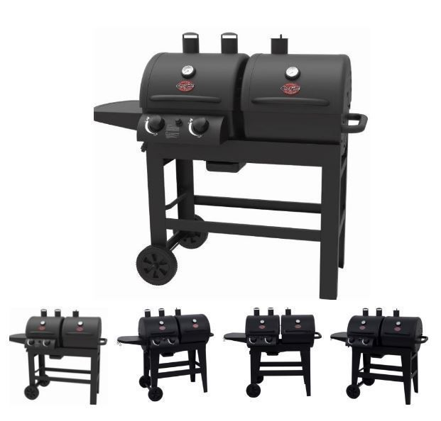Char Griller Charcoal Gas Grill Dual 2 Burner Outdoor Bbq Cooking Smoking Steel Chargriller