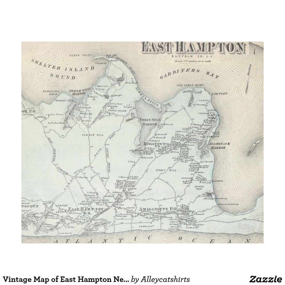 Vintage Map of East Hampton New York 1873 Fleece Blanket  New