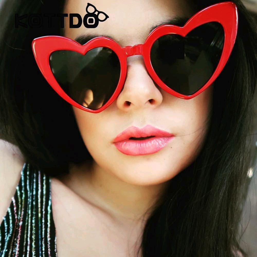 9edd996ead Cute Heart Sunglasses Women Black Red Frame Heart Cat Eye Women Sunglasses  Luxury Shade Brand Fashion Eyewear Female Oversize