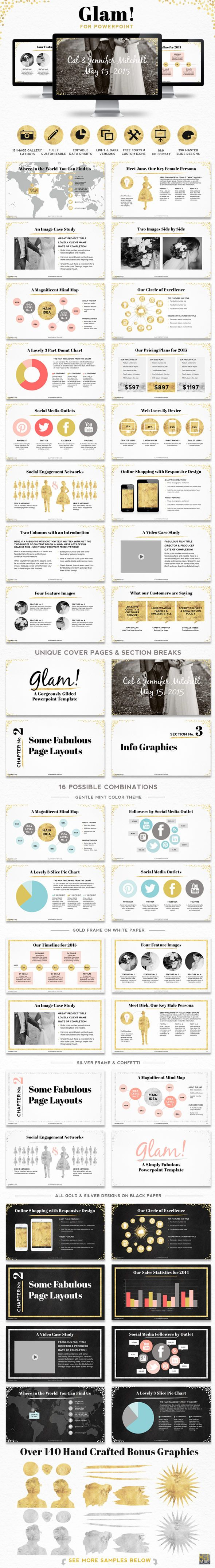 Glam powerpoint presentation template powerpoint presentation powerpoint presentation template with 296 hand styled high definition master slides this collection of ppt templates have been specifically designed with ccuart Gallery