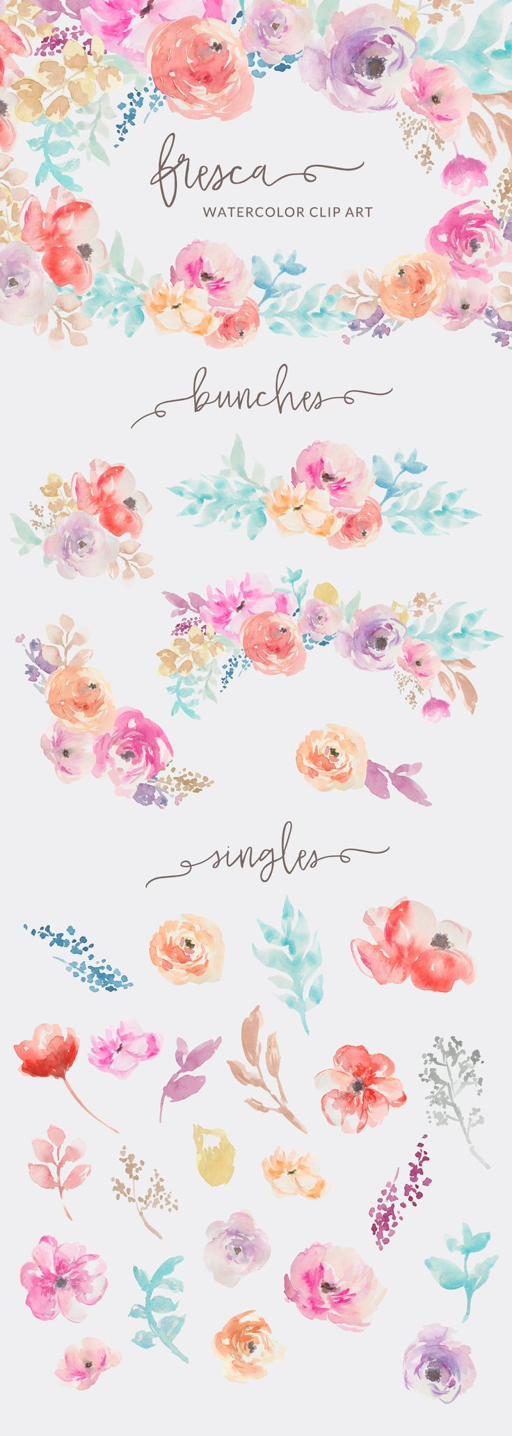 Watercolor Flowers Clip Art By Angie Makes Chryssa Flowers Flower Art Watercolor Flowers Floral Watercolor