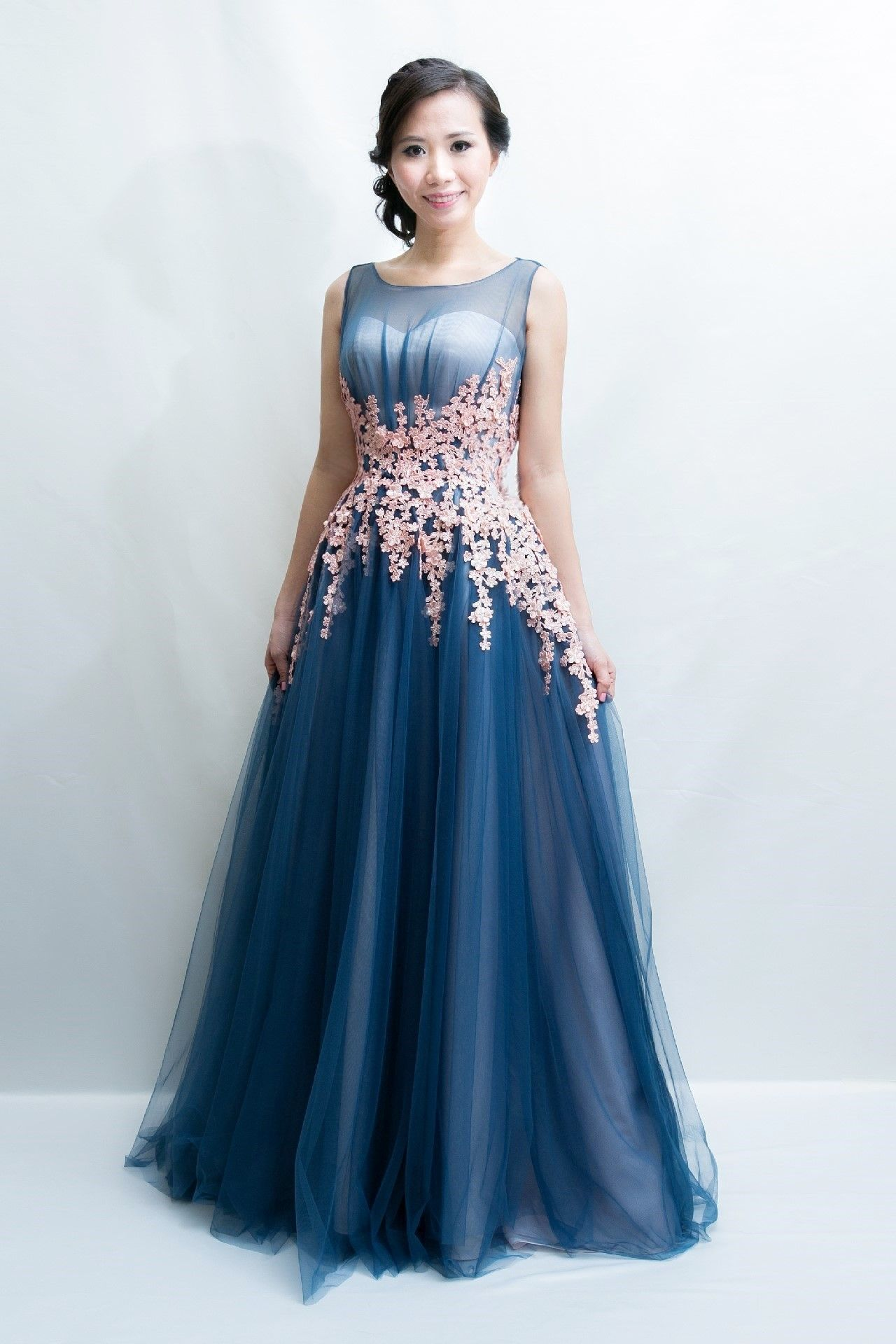 A-Line/Princess Blue Boat-Neck Evening Gown, rental for $480. To ...
