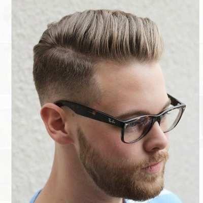 mens short blonde side part pompadour hairstyle haircut #menshairstylesshort #menshairstylessidepart