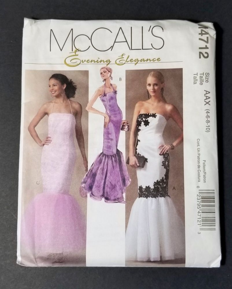 Mccall S 4712 Mermaid Evening Gown Pattern Size Aax 4 6 8 10 Petite Uncut Mccalls Evening Gown Pattern Gown Pattern Mermaid Evening Gown [ 1000 x 803 Pixel ]