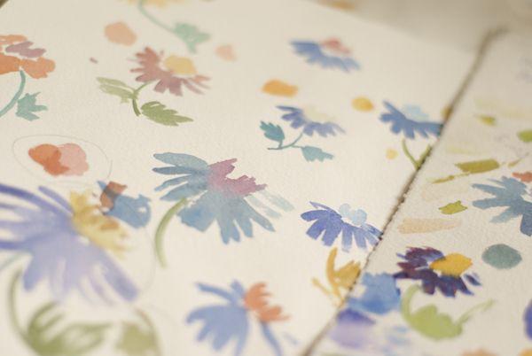 The Lost World watercolor patterns by Tetiana Kartasheva, via Behance