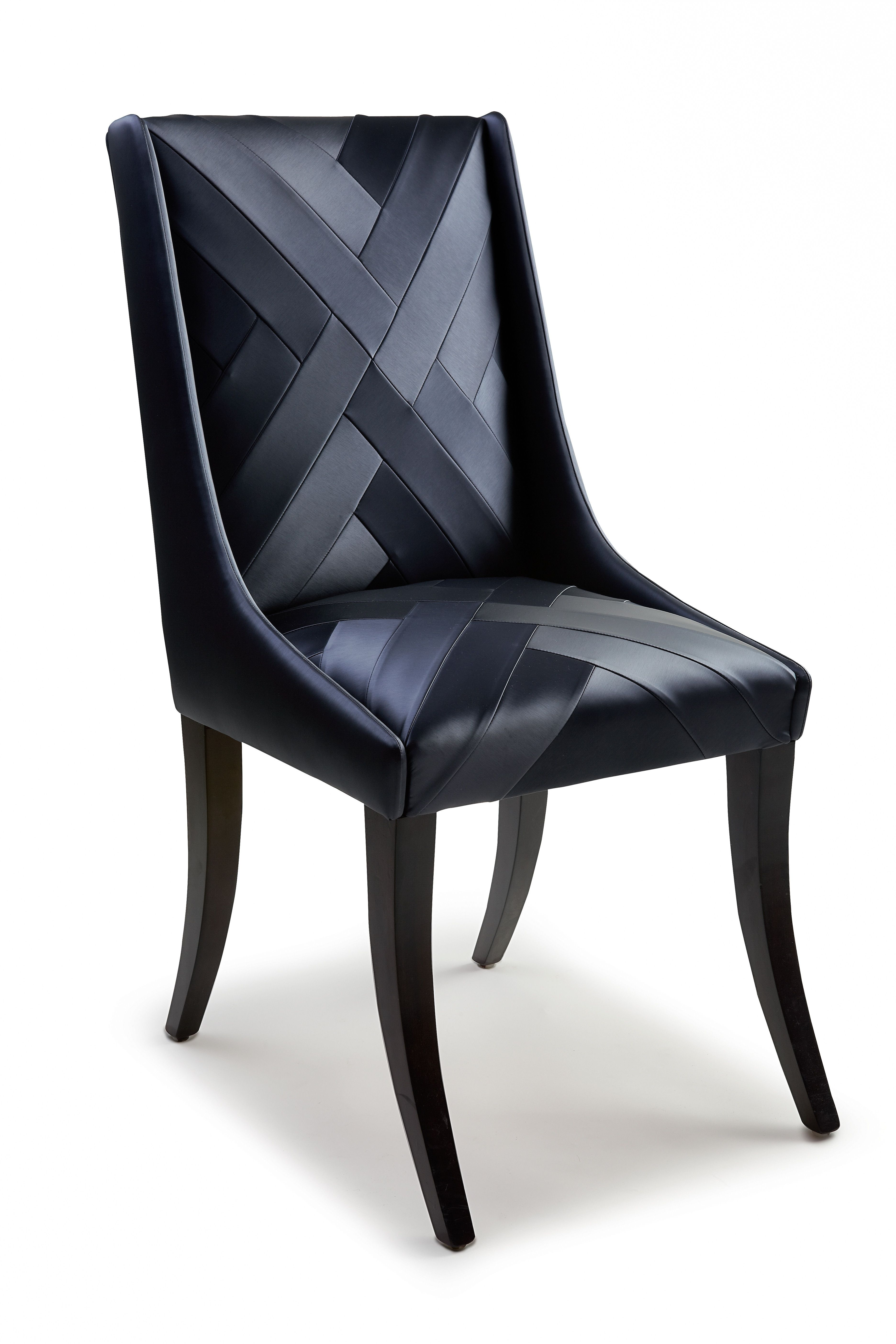 Chevron dining chair Black vinyl dining chair upholstered with