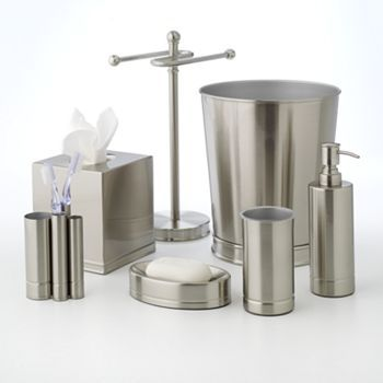 Brushed Nickel Bathroom Accessories Home Clics Bath Kohl S Wastebasket 23 99 Tissue Holder 20 Lotion Pump
