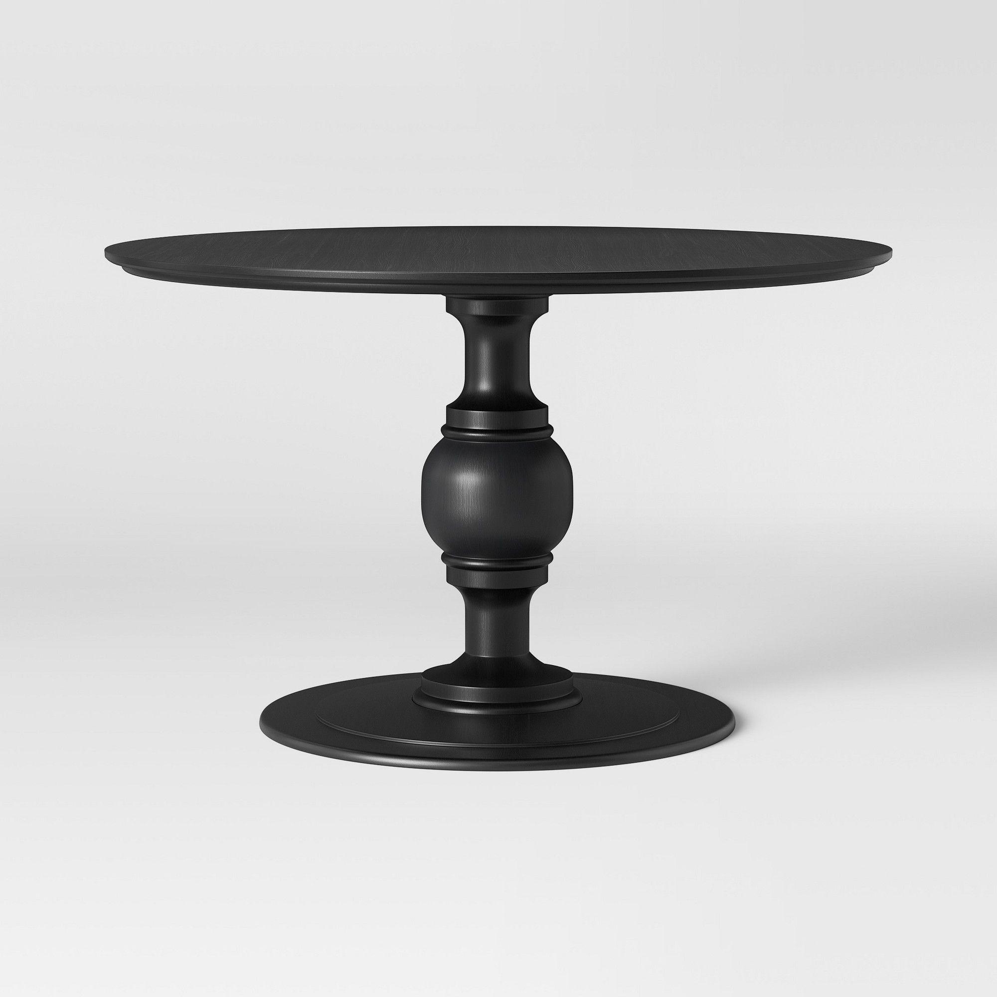 Byfield Pedestal Dining Table Black Threshold Phantom Dark Gray