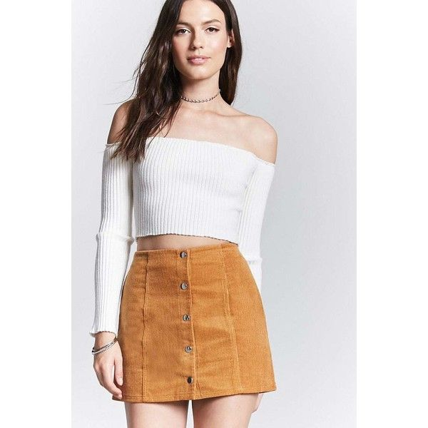 b9c1b3a29 Forever21 Corduroy Button-Front Skirt ($18) ❤ liked on Polyvore featuring  skirts, mini skirts, camel, short skirts, button front skirt, mini skirt,  forever ...