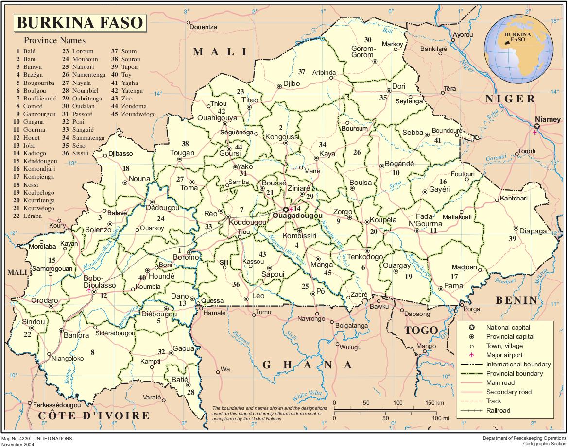 Burkina Faso Von Burkina Faso Weitere Karten Landkarte Burkina Faso Karte Provinzen Reisefuhrer Reisebericht Landkarte