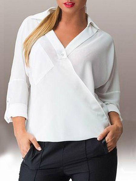 This Plain Courtlike Small Lapel Plus Size Blouse can be yours for $15.95