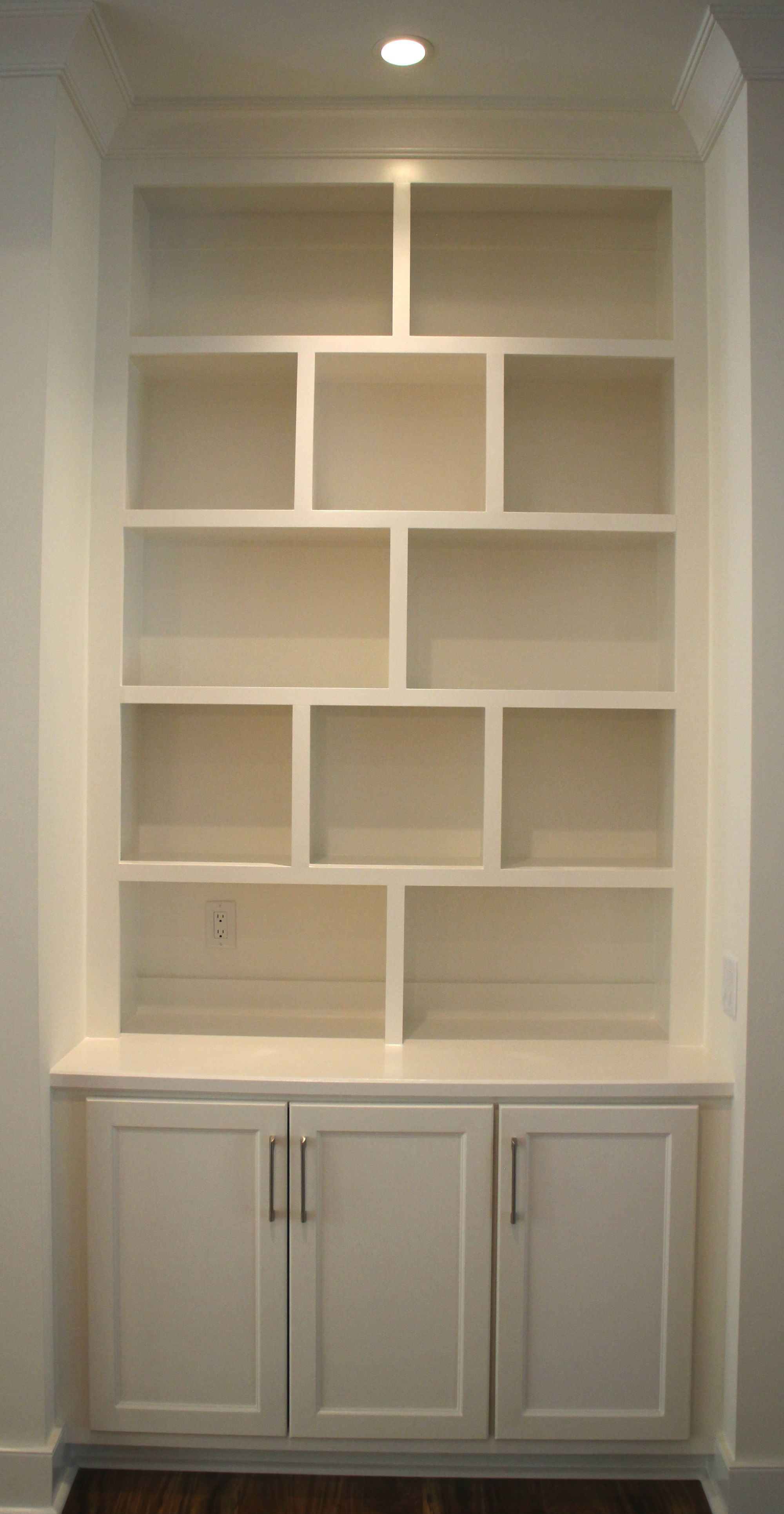 G Contemporary Painted Built In Base Cabinet With Bookshelves
